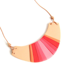 red-pink tribal bib necklace
