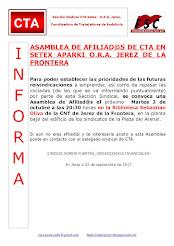 ASAMBLEA DE AFILIAD@S DE CTA EN SETEX APARKI O.R.A. JEREZ DE LA FRONTERA