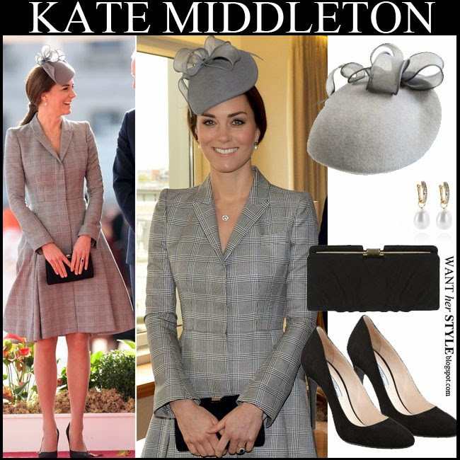 Kate Middleton in grey coat dress by Alexander McQueen with black clutch and black pumps want her style october 21 2014