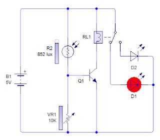 Rangkaian sensor cahaya | Sensor cahaya dengan LDR