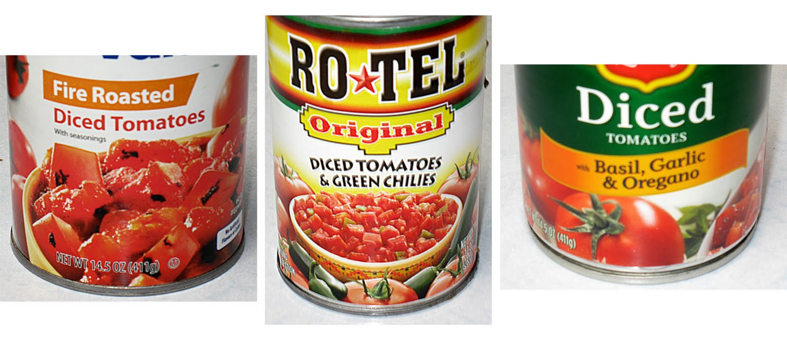 Pour all 3 cans of tomatoes into a blender.