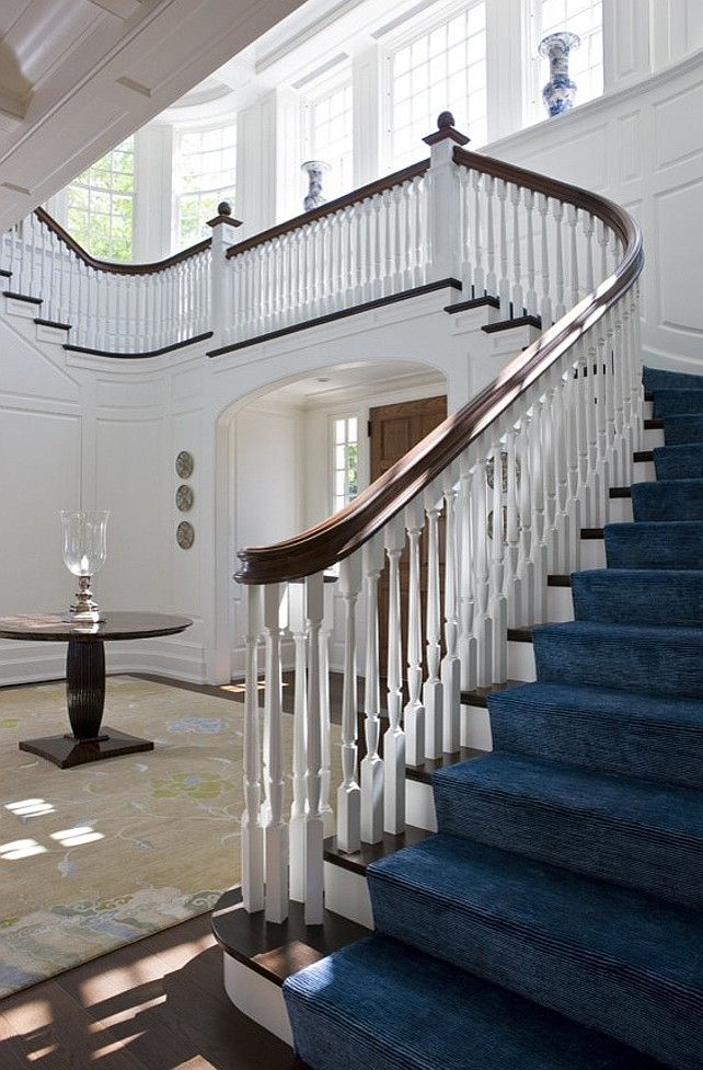Beautiful staircases on pinterest staircases foyers for House plans with stairs in foyer