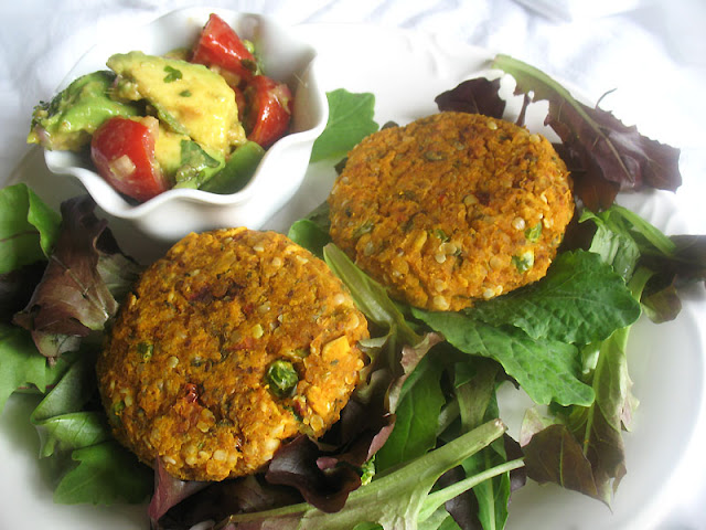 Sweet Potato and Chickpea Patties with Avocado and Tomato Salsa