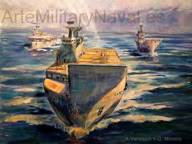 Pintura al óleo de los portaaviones españoles LHD Juan carlos I, Principe de Asturias y Dedalo