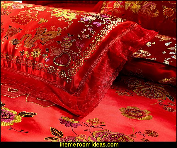 Chinese Traditional Red Sheet Asian Bedding Queen with Dragon and Phoenix Bird Embroidery Duvet Cover