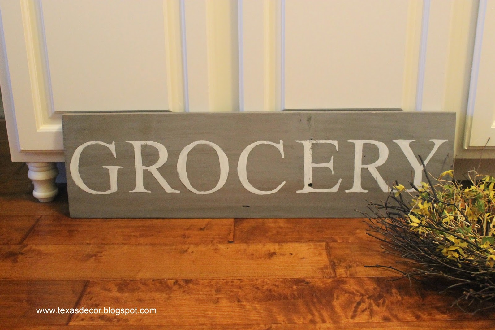wooden grocery sign for kitchen