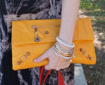 balenciaga mangue mango yellow envelope clutch gold hardware