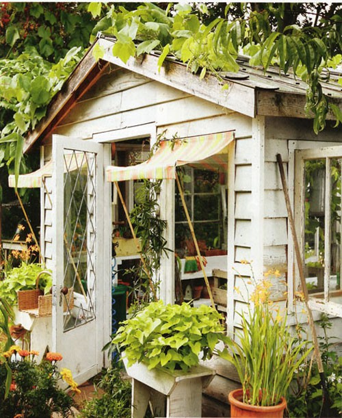 Faded white linen welcoming shed for Pretty garden sheds