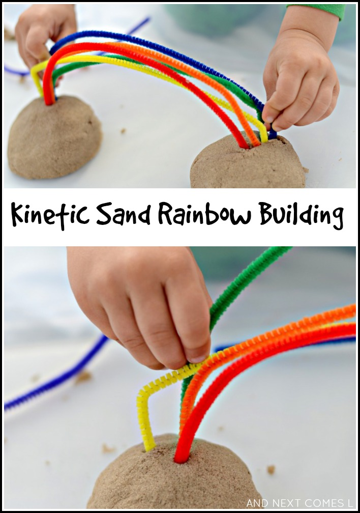 Kinetic sand rainbow building fine motor fridays and for Fine motor activities preschool