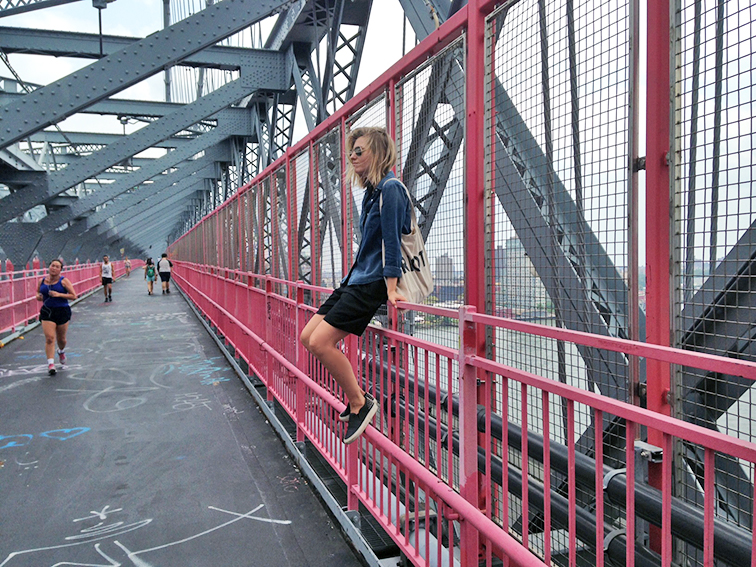 Williamsburg Bridge, Brooklyn, New York City, black and denim outfit, fashion over reason