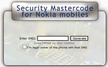 Security Master Code for Nokia - Use if you forget Nokia security code
