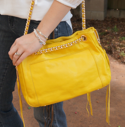 Rebecca Minkoff canary yellow swing bag cross body fringe purse