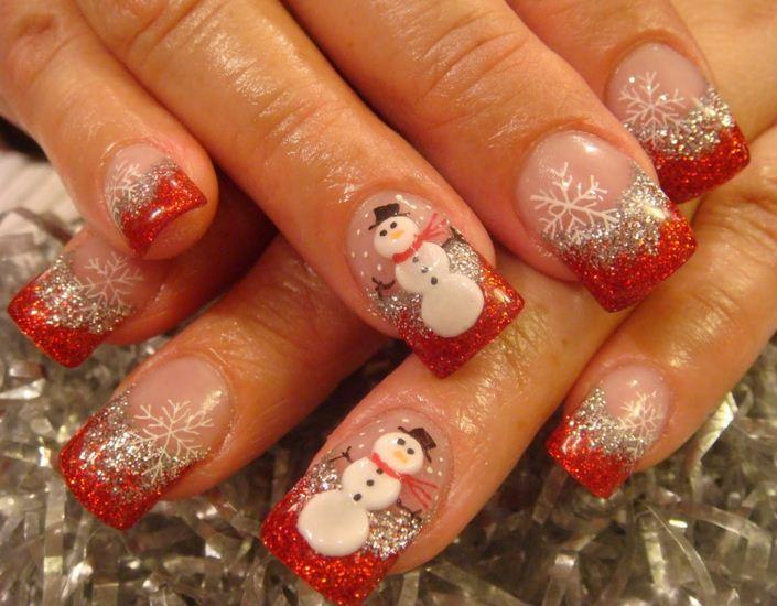 Diseño navideño para uñas
