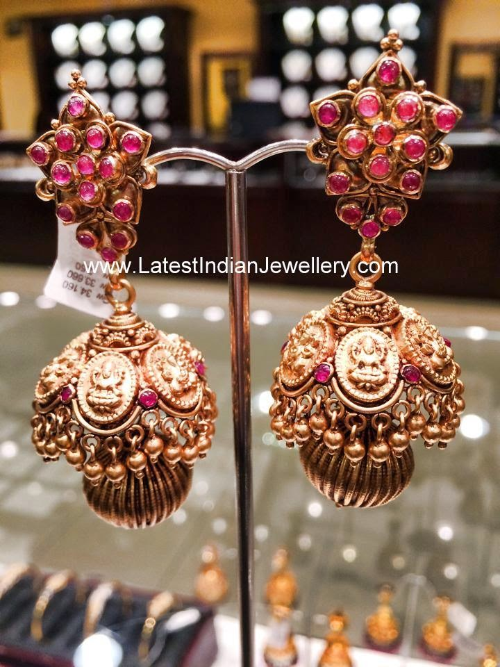 Gold Kasu Jhumka Earrings
