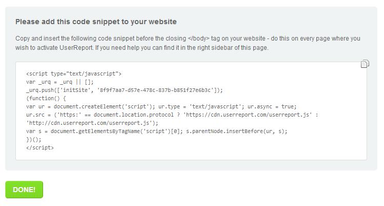 Adicionar código User Report no blog