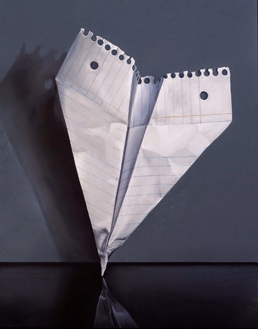Original oil painting of a paper airplane by Jeanne Vadeboncoeur