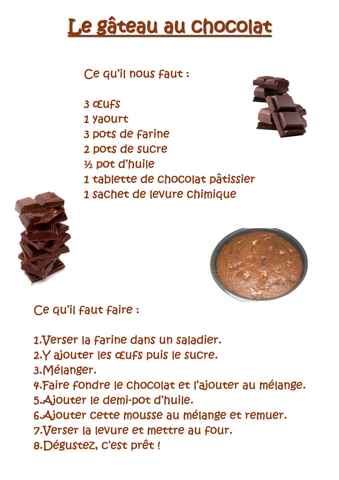 La Maternelle De Laurene Le Gateau Au Chocolat
