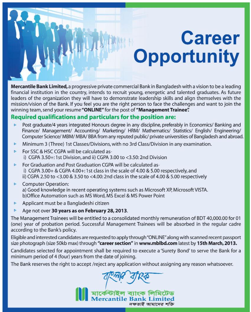 mercantile bank limited jobs by 15th march 2013