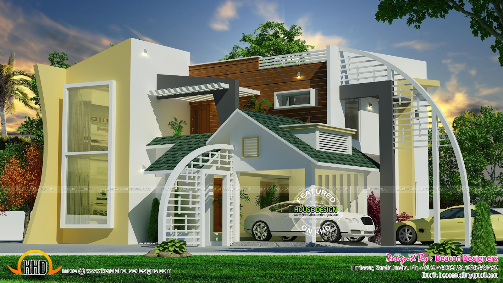 Unique ultra modern contemporary home kerala home design for Modern triplex house designs