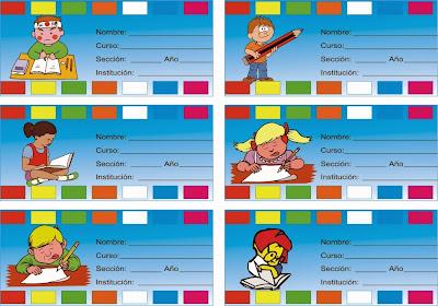 etiquetas de niños leyendo y aprendiendo con sus libros