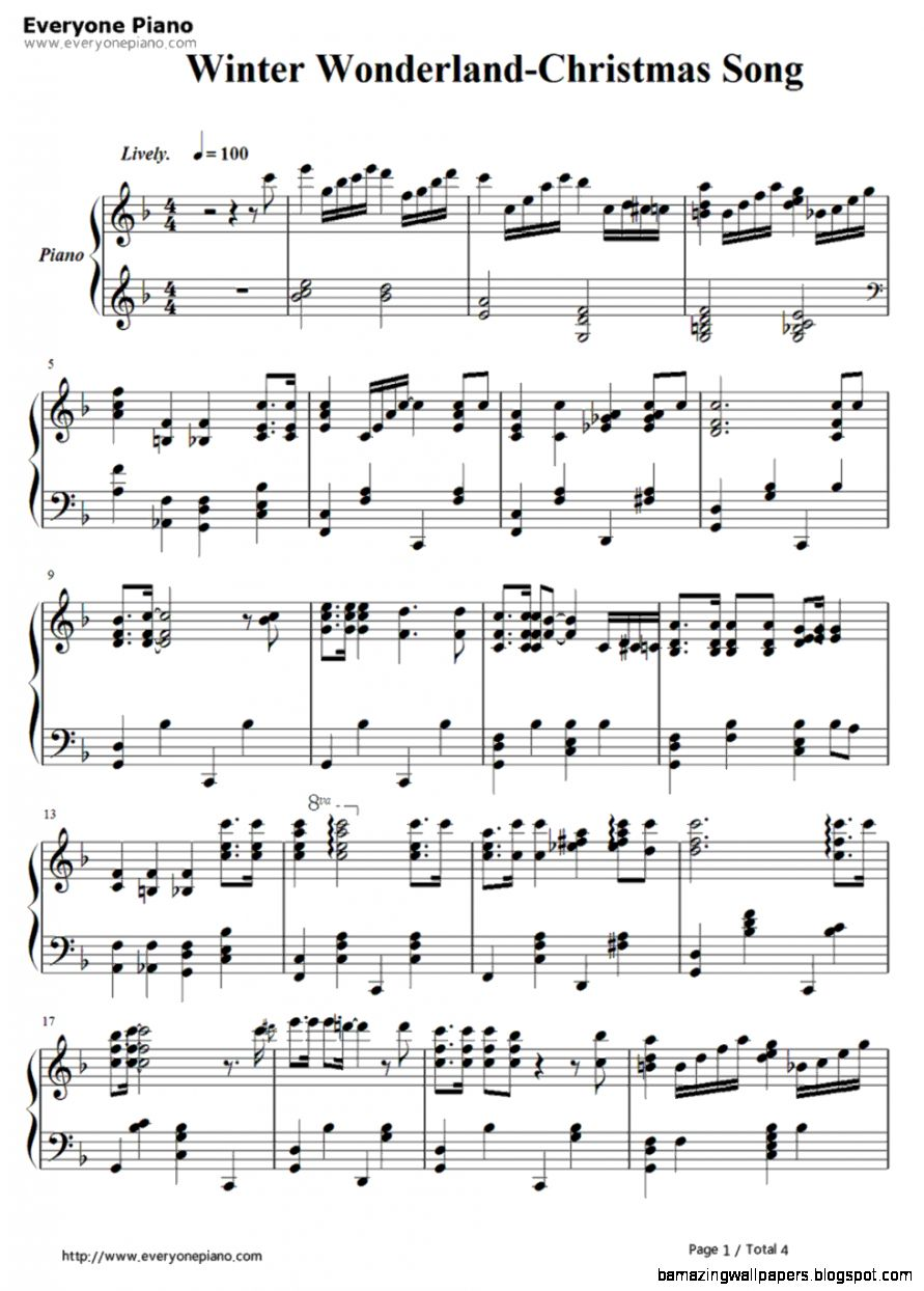 Winter Wonderland Christmas Song Stave Preview 1 Free Piano Sheet