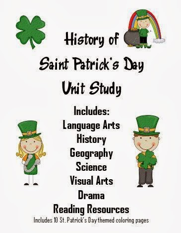 http://www.freehomeschooldeals.com/history-of-st-patricks-day-unit-study-with-free-printables-and-worksheets-prek-5/