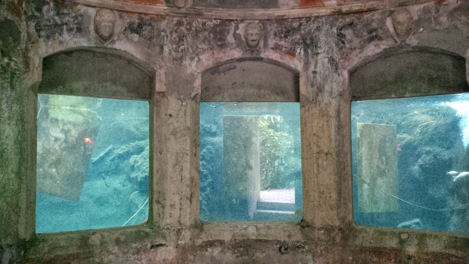 The semiabandoned aquarium in the park of Villa Rossi in Santorso