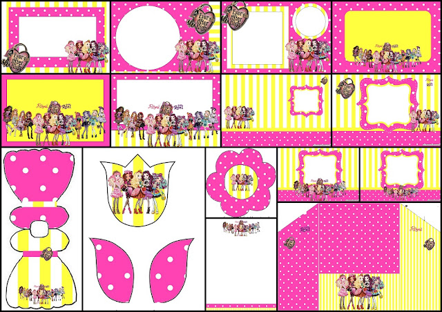 Pink and Yellow Ever After High: Free Printable Invitations.