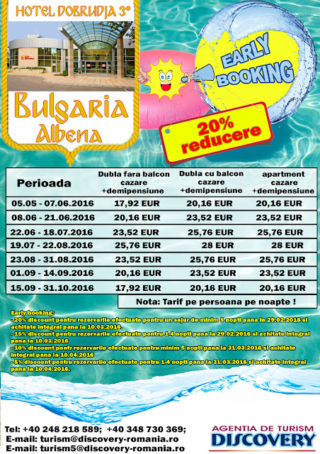 Early Booking Bulgaria statiunea Albena - Discovery Pitesti