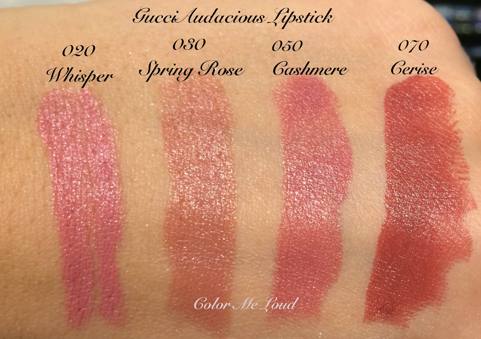 Gucci Audacious Lipstick Swatches, Whisper, Spring Rose, Cashmere and Cerise