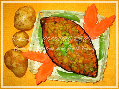 Carrots Potatoes and Peas Poriyal with Coconut Milk
