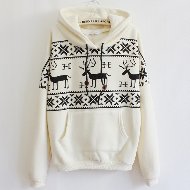 Thicken Loose Leisure Deer Print Hoodie