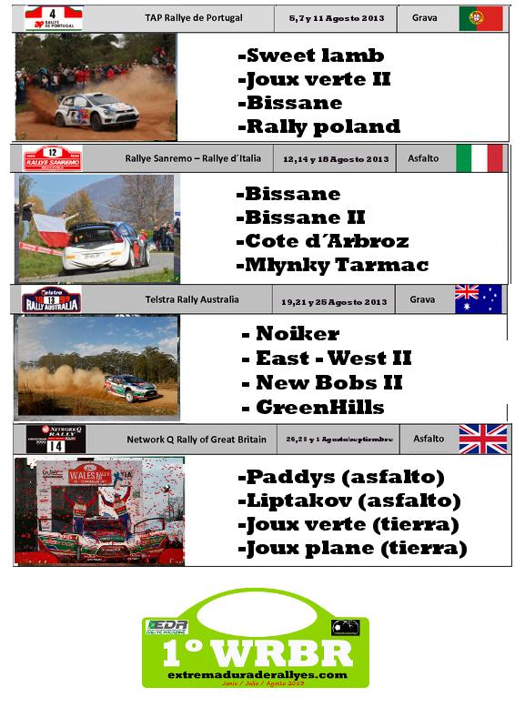 1 Campeonato del mundo Richard Burns Rally extremaduraderallyes.com Calendario2