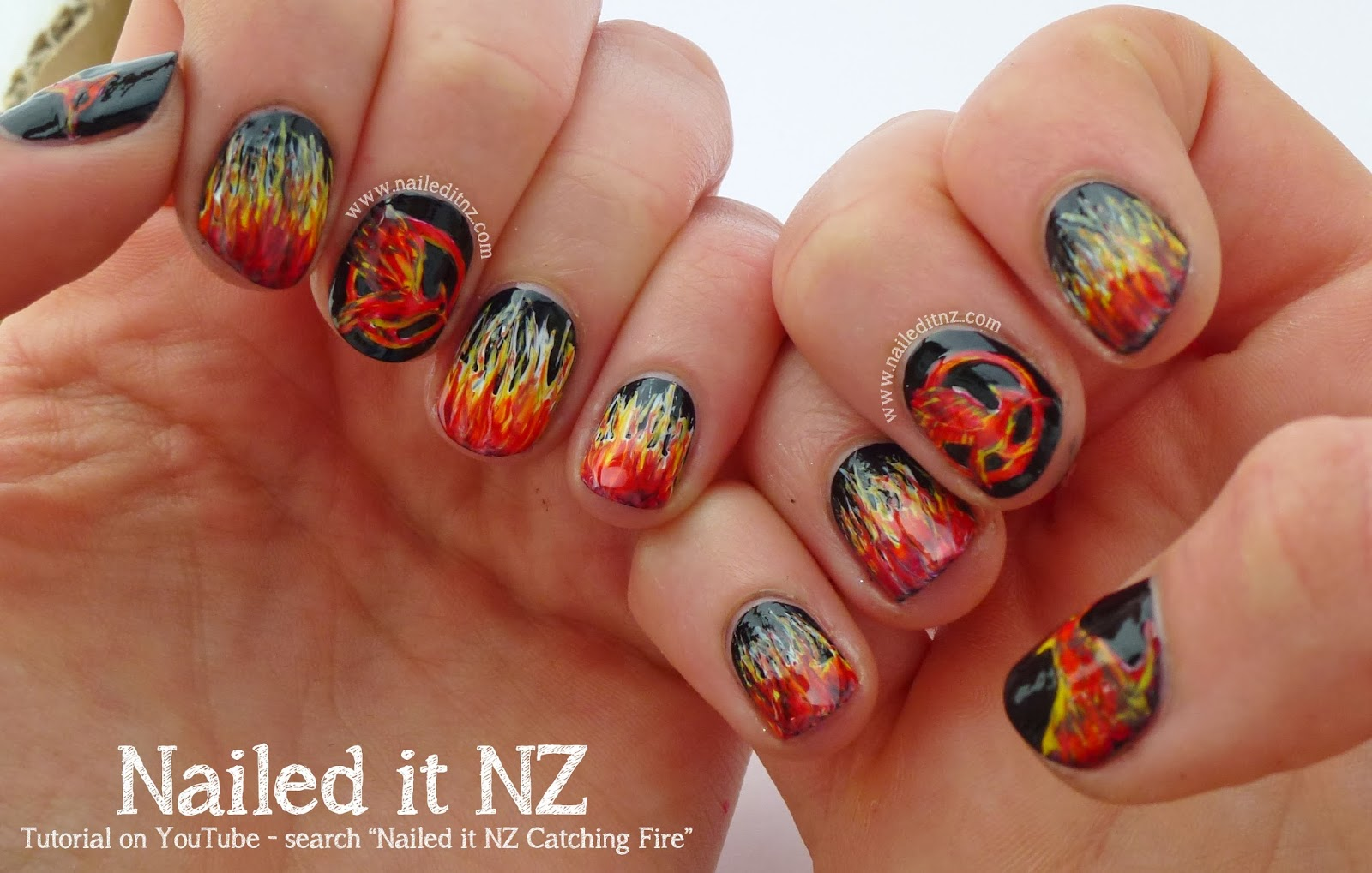 Catching Fire Nail Art Quotes Tutorial