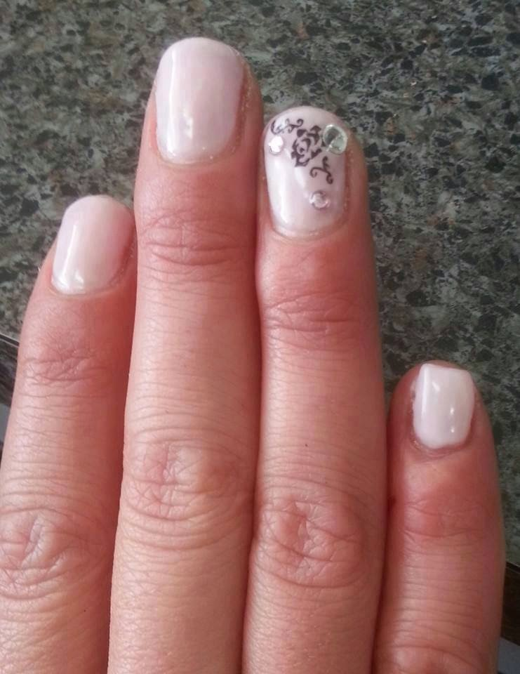 Acrylic sculpt pinky + LED polish manicure and nail stamping stones