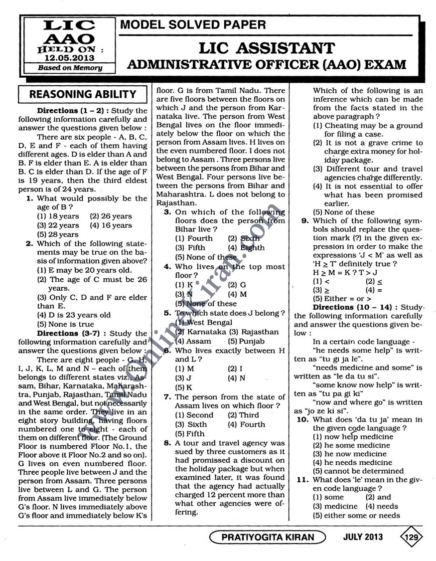 Lic Aao Question Papers Pdf