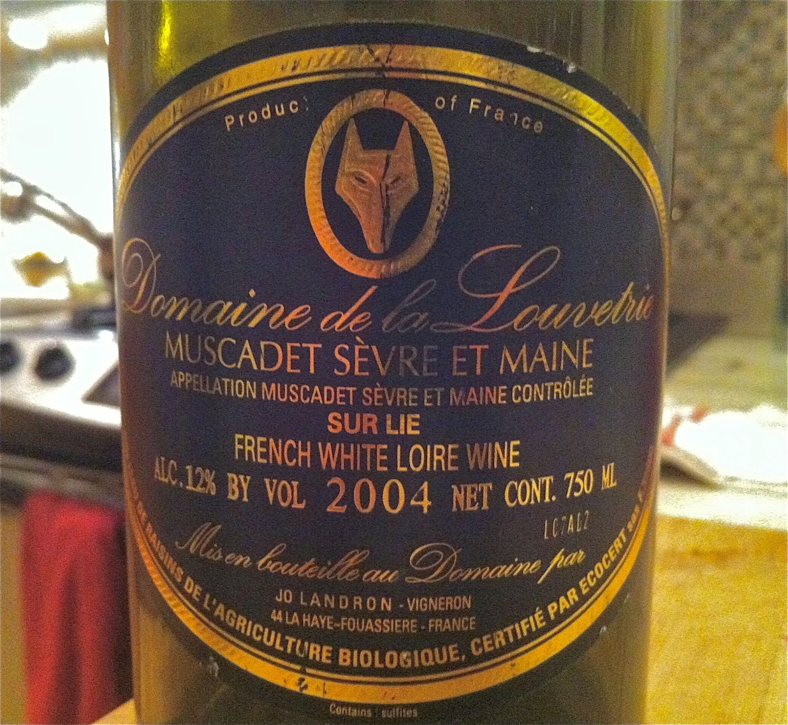 I Opened A Bottle Of Muscadet, One Of The Great Wines From That Place   The  2004 Domaine De La Louvetrie Muscadet Le Fief Du Breil.