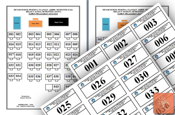 Denah Tempat Duduk dan Format Cetak Nomor Bangku Kelas UAS