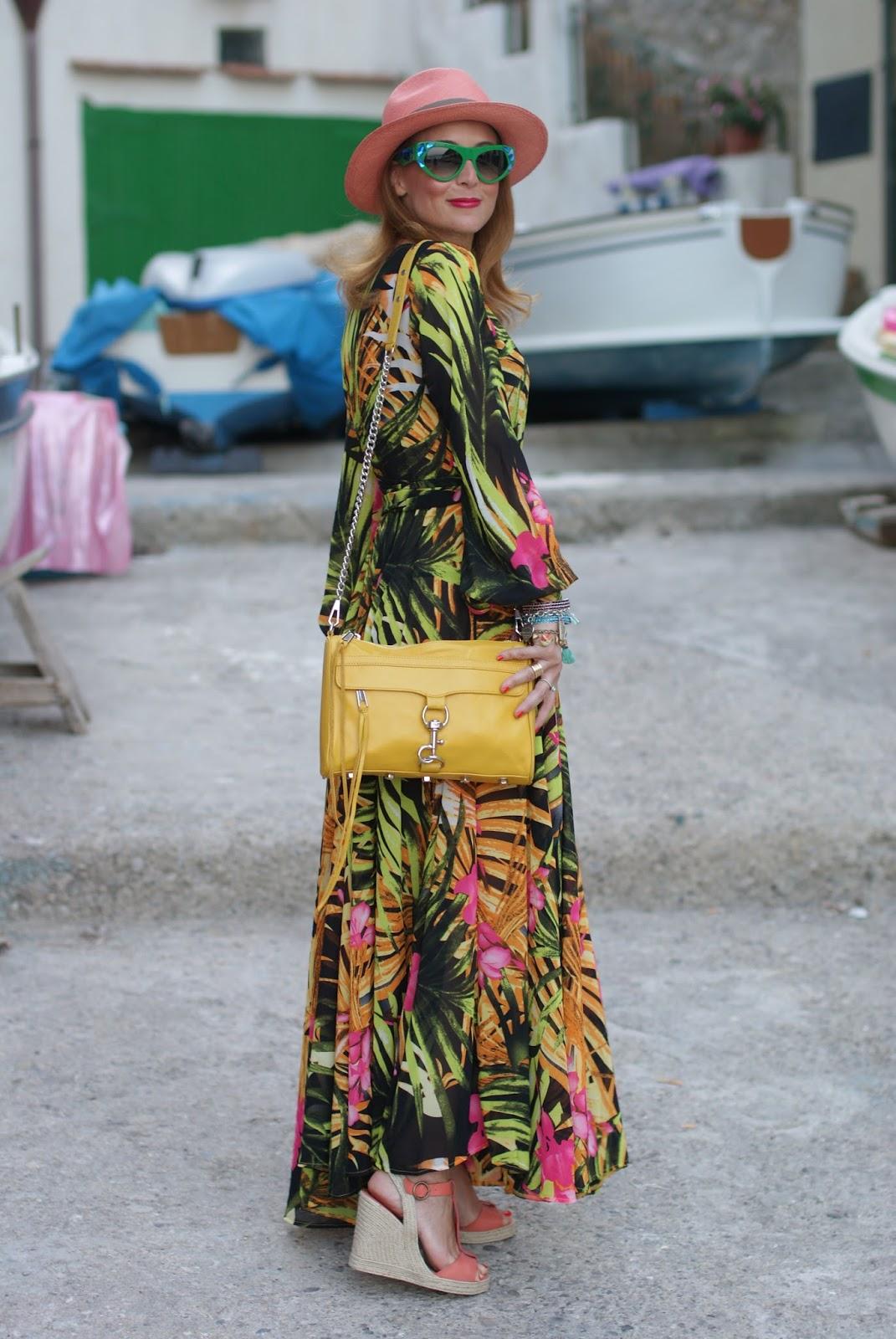 prada voice sunglasses found on giarre dot com, tropical print chiffon maxi dress with espadrilles, ecua-andino hat for a summer boho style on Fashion and Cookies fashion blog, fashion blogger style