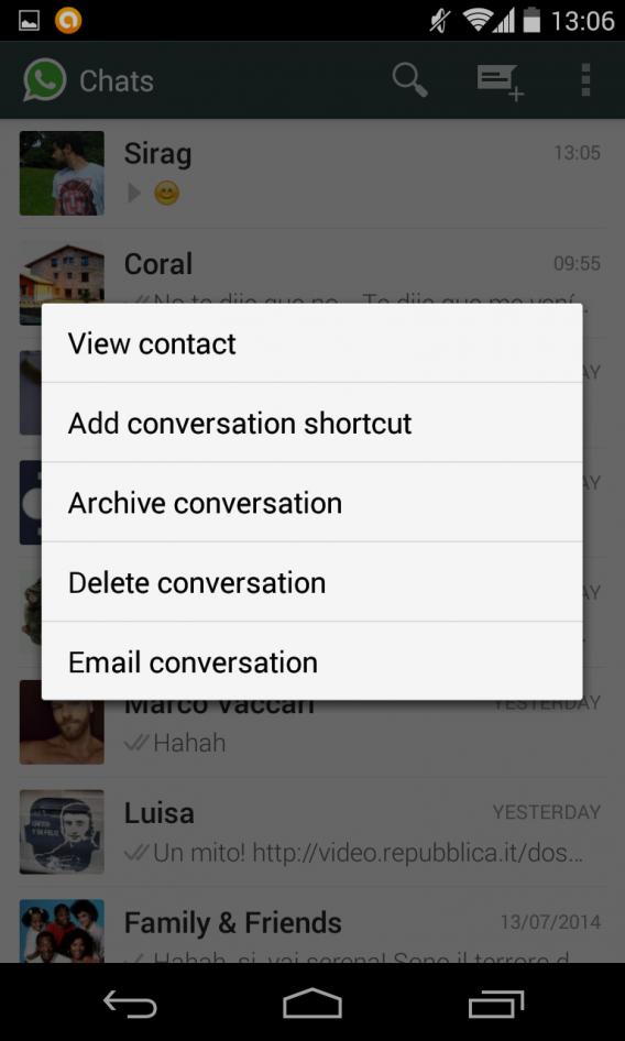 Nova versão do WhatsApp para Android permite arquivar conversas