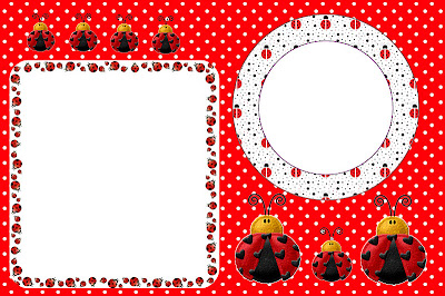 Ladybugs Free Printable Invitations, Cards or Photo Frames.
