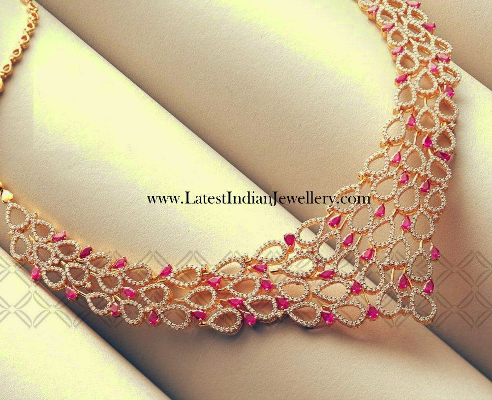 Modern Diamond Ruby Designer Necklace