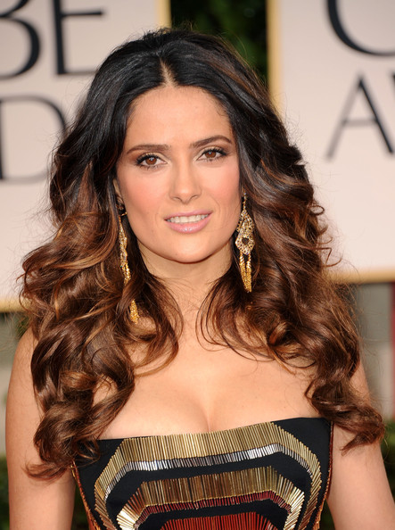 salma hayek long curls hairstyle lookbook actress salma hayek arrives