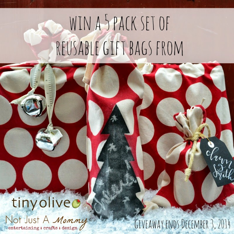 Win a 5 pack set of reusable gift bags from @TinyOlive + @NotJustAMommy; giveaway ends December 3
