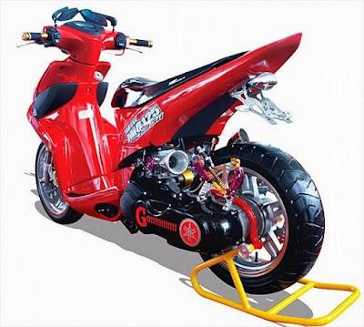 modif motor mio j warna merah, gambar hasil modif motor mio j
