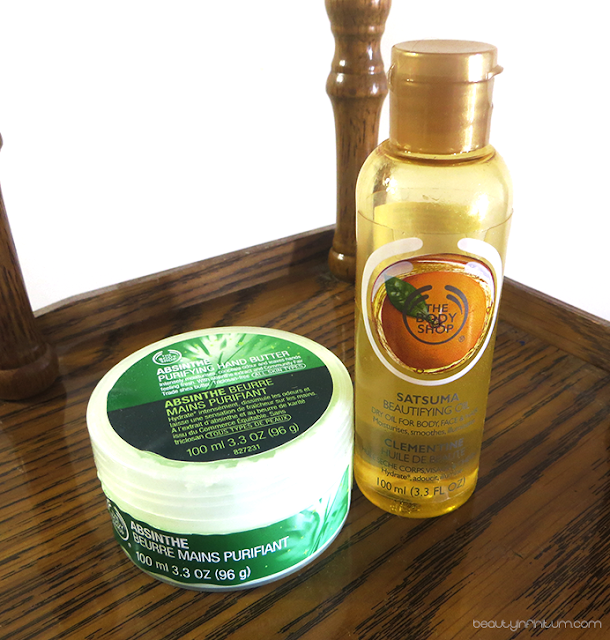 the body shop hand butter and the body shop beautifying oil