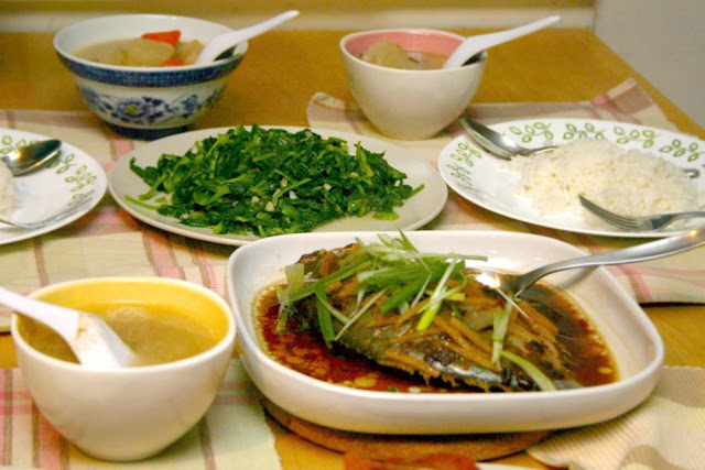 ... Dinner: Steamed Fish with Ginger, Sauteed Pea Tips & Radish Soup