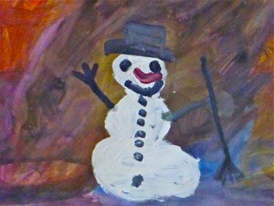Wasserfarbenbild mit Schneemann