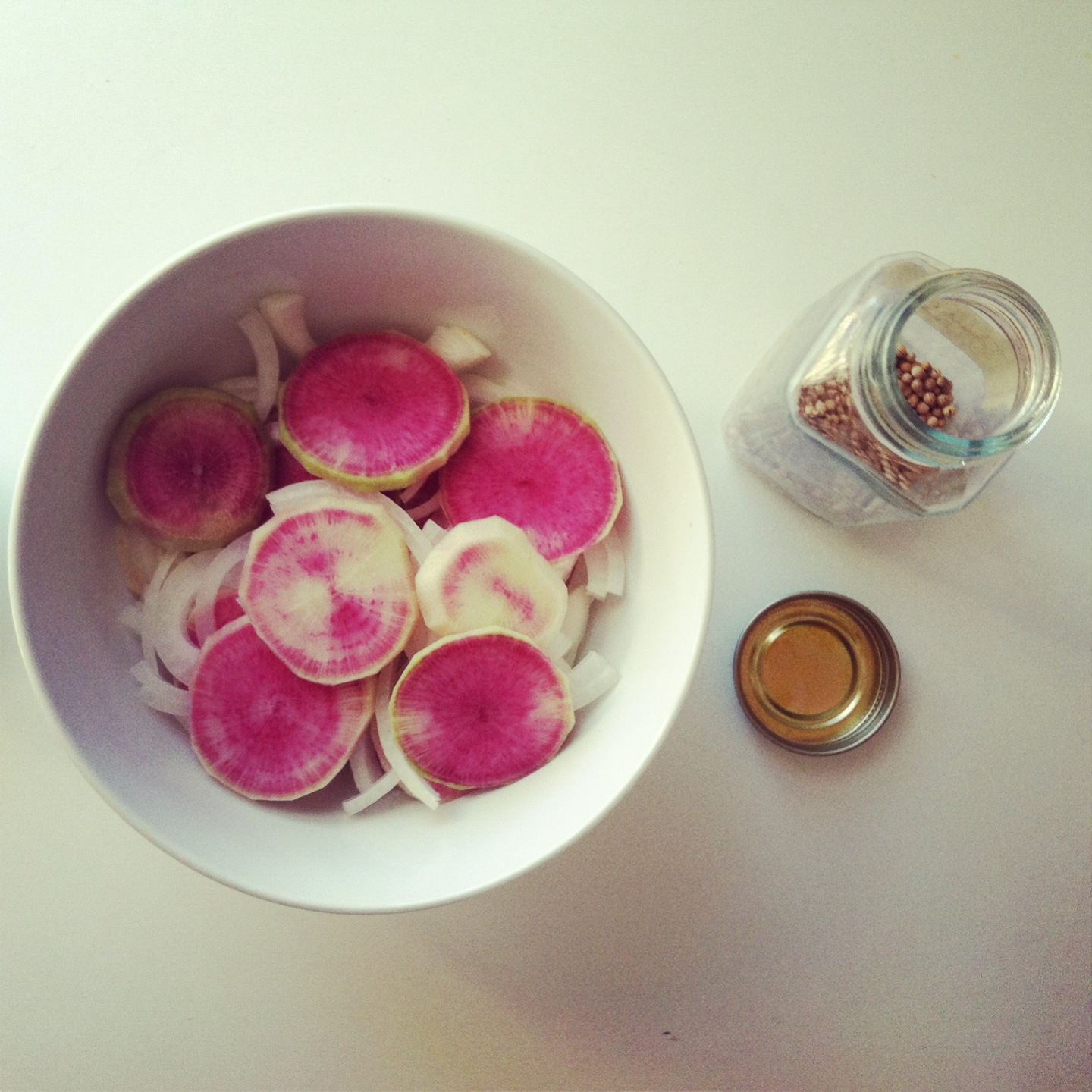 Radishes and onion slices with coriander seeds..