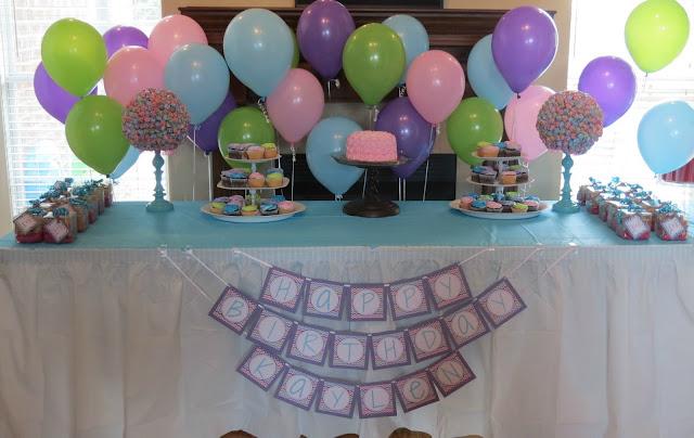 rainbow chevron birthday table